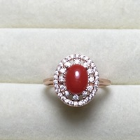 Classic Hollow Design Pure 925 Silver Red Coral Rings Wholesale Rose White Gold Color Haleigha Fine