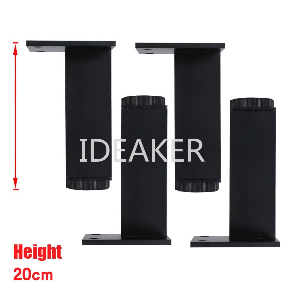 4PCS 200x38MM Aluminum Alloy Legs Height Adjustable Black Rectangle Feet Cabinet Table Legs