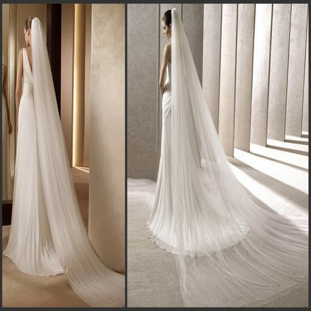 2017 Simple Tulle Long Wedding Veils 3 meters Long Bridal Veils Fashion Wedding Accessories