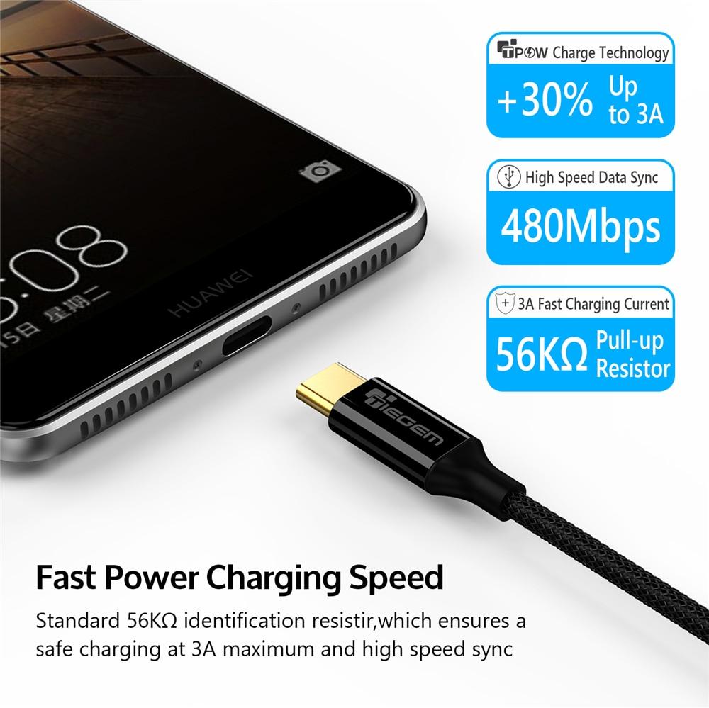 TIEGEM USB Tipe C Kabel USB 3.1 Tipe-C Pengisian Cepat USB-C Kabel - Aksesori dan suku cadang ponsel - Foto 3