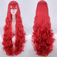 110cm Land of the Lustrous Padparadscha Red Wavy Long Synthetic Hair Cosplay Costume Wigs Heat Resistance Fiber Halloween PARTY