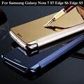 Clear View Флип Зеркало Case Для Samsung Galaxy S5 S6 S6 Edge S7 S7 Края Примечание 7 Смарт-Clear View Флип Кожа Вернуться Case крышка