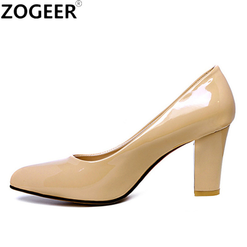 Plus size 46 2019 Fashion Classic Women Pumps Thick High Heels Shoes Solid PU Leather Nude Red black Office Wedding Shoes Womanwedding shoeswedding shoes womenwomen pumps -