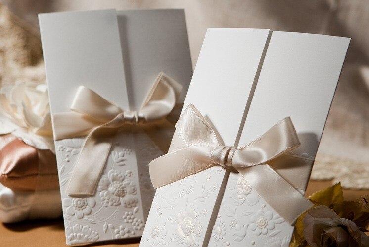 Embossed Flower Wedding Invitations Bow Ivory Printable Invitation