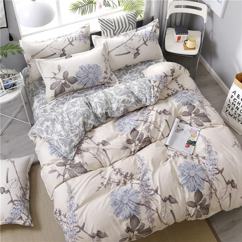 Floral Printing Bedding Set Bed Linen Flat Sheet Pillowcase Duvet Cover Set AB Side Girls Bedroom Decor 3/4pcs (No Filling)