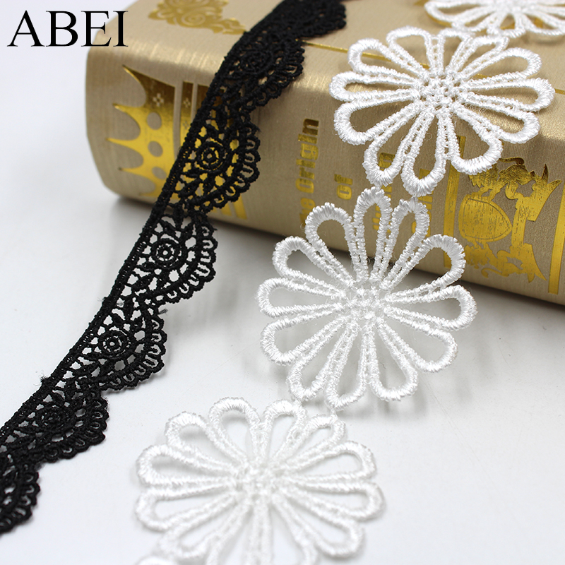 2yards/lot Embroidery Hollow White Black Flower Lace Trims Diy Jewelry Ornaments Wedding Party Clothes Fabric Ribbon Accessories