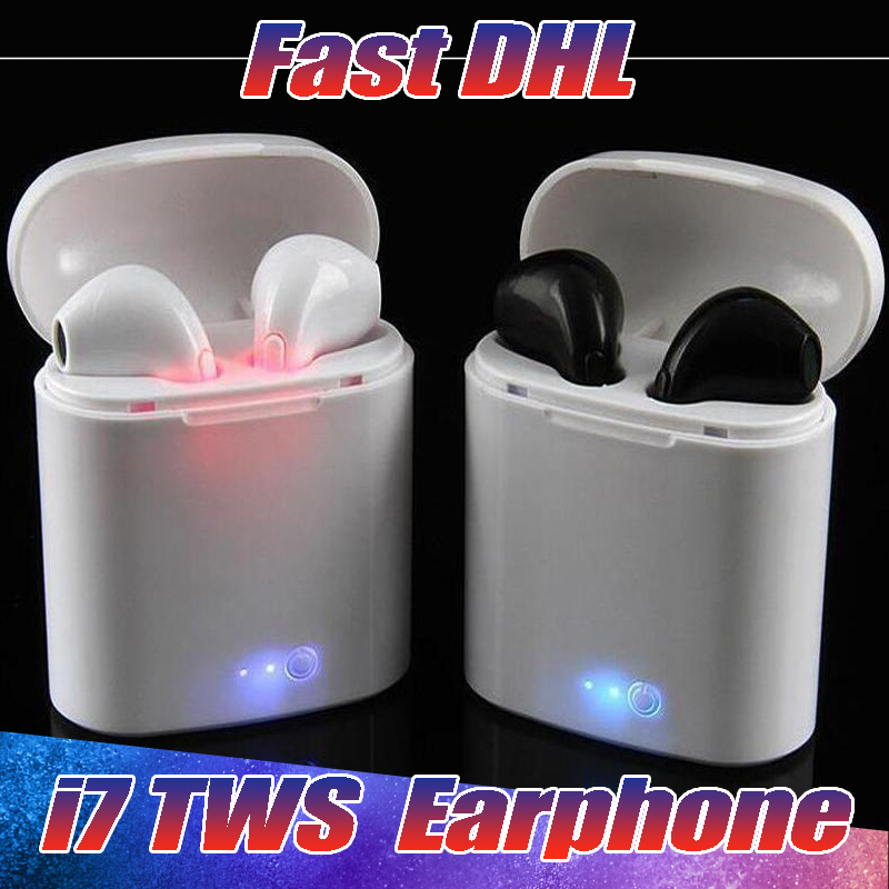 50PCS/Lot I7 I7S TWS Twins Bluetooth Earbuds Mini Wireless Earphones with Mic Stereo V4.2 for Iphone Android with retail Package