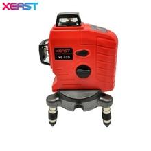 Высокое Качество XEAST XE-65D 12 Линия 3D лазерный уровень 360 Вертикальных И Горизонтальных 3D Лазерный Уровень самовыравнивающийся Красный луч