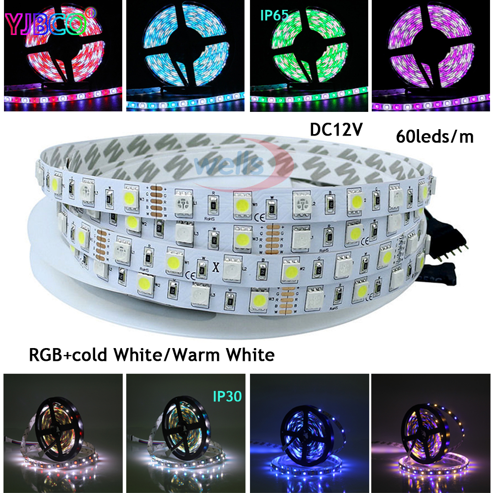 5M/lot DC12V 5050 SMD 60LEDs/m White/Warm White/Red/Green/Yellow/Blue/Pink/RGB/UV/RGBW/RGBWW Flexible Led Strip Light Tape