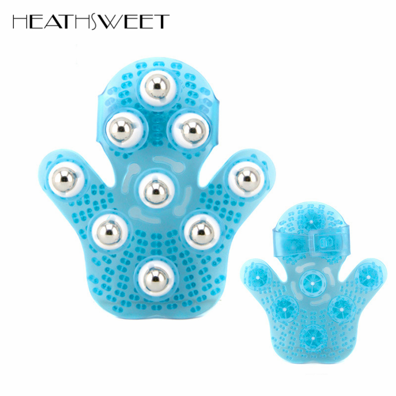 Healthsweet Palm Shaped Body Cellulite Massage Glove Massager With 9 360Degree-Roller Metal Roller Ball Muscle Pain Relief Relax пак ц pack cellulite