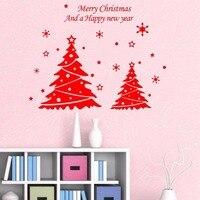 Noel Tre e & Kar Taneleri Duvar çıkartmaları Pencere Çıkartması Duvar Vinil Ev Dekor 58X41 CM