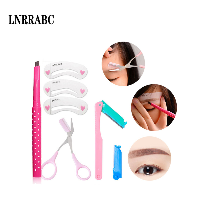 Fashion Professional 5Colors Eyebrow Pencil Eyebrow Trimer Eyebrow Scissors Thrush Card Female Eyebrow Tools Kit