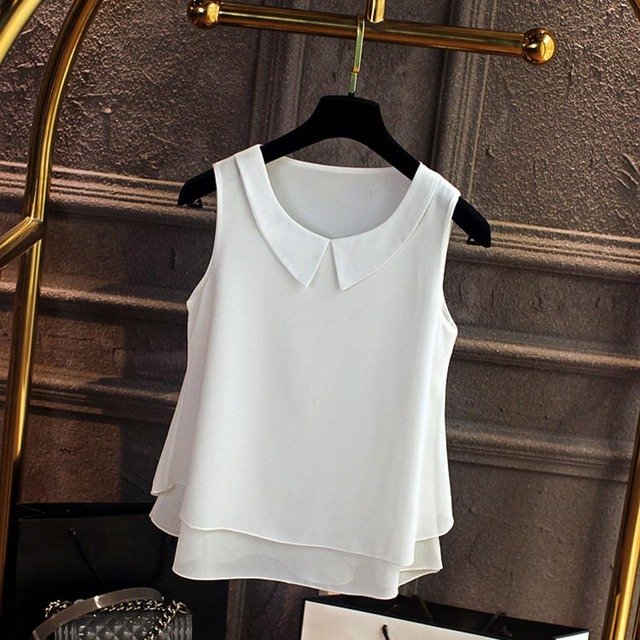 Kawaii Женский шифон для женщин рубашки для мальчиков лето 2019 г. Повседневное Топ Свободные без рукавов Тонкий и легкий шифоновая блузк