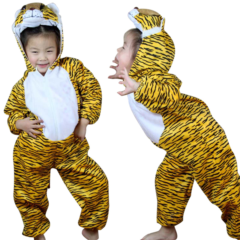 Gold Tiger Child Costume Animal Cosplay Costumes Jumpsuit Children's Day Kids Performance Clothes