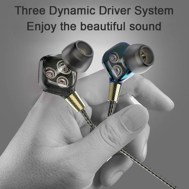 купить Headphone Three Dynamic Driver System Speakers HIFI Subwoofer In Ear Stereo Sports Earphone Monitor Earbud Headset For iPhone 6