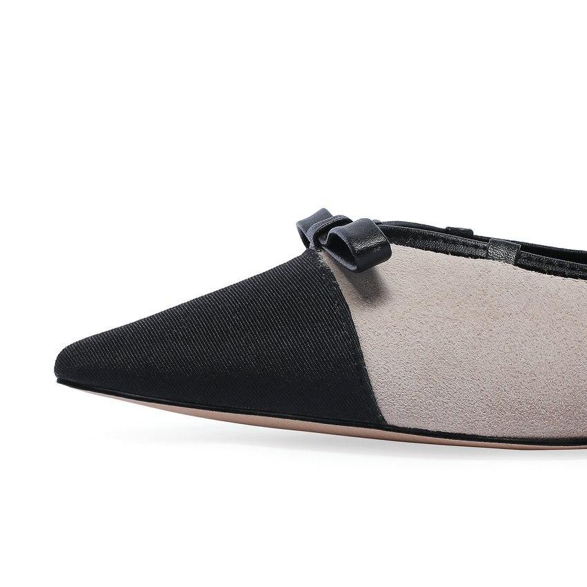 Bas Esveva Femmes Apricot Doux Taille Profonde Sur 39 gris Ressort Sandales Pointu Glissement Chaussures 34 2019 Patchwork Pompes Talons Peu Bout Style xIrgIF
