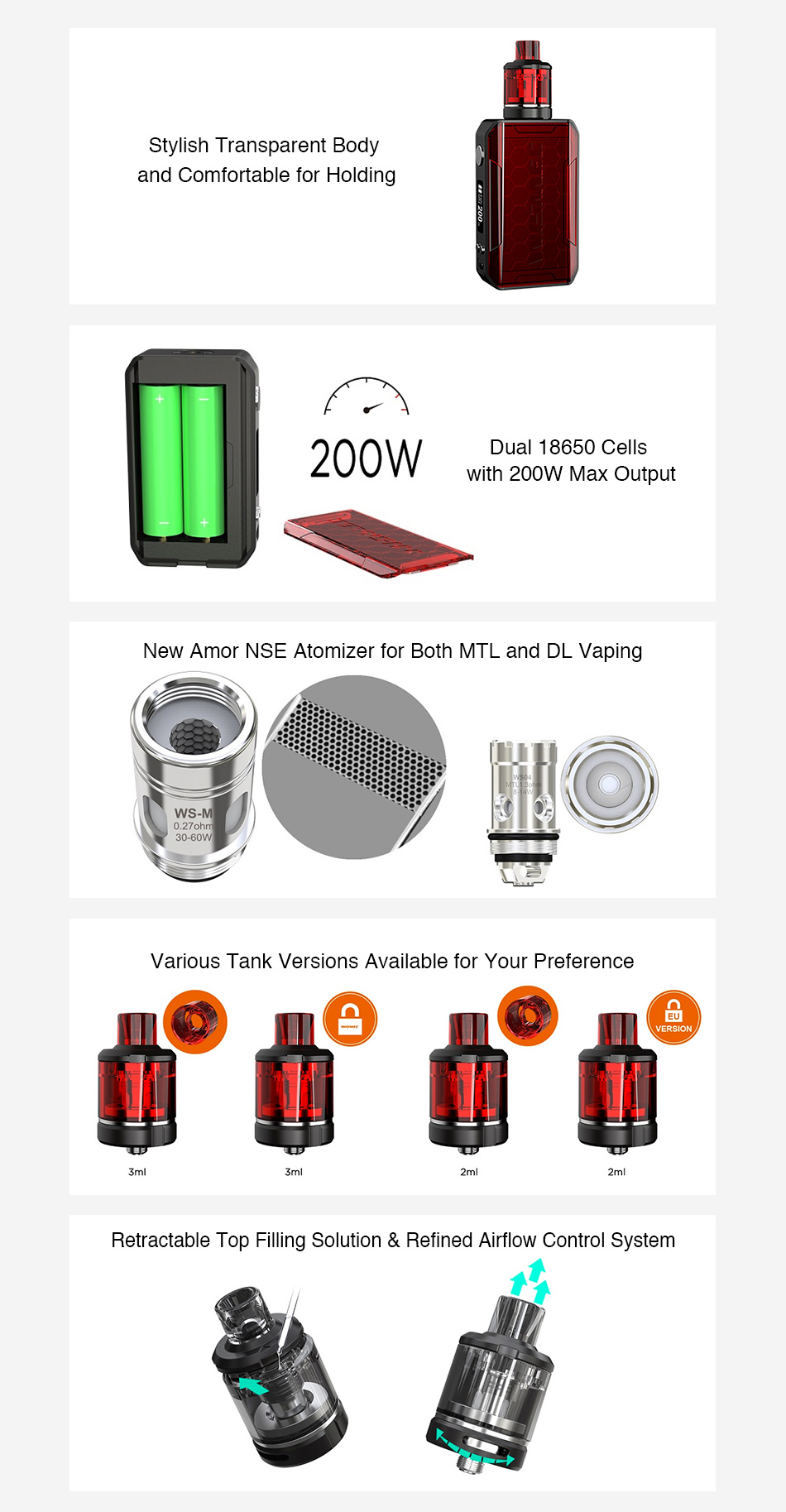 wismec sinuous v200, New Original 200W WISMEC SINUOUS V200 TC Kit with 2ml/3ml Amor NSE Tank & Child Lock MTL & DL Vape Kit No 18650 Battery Box Mod