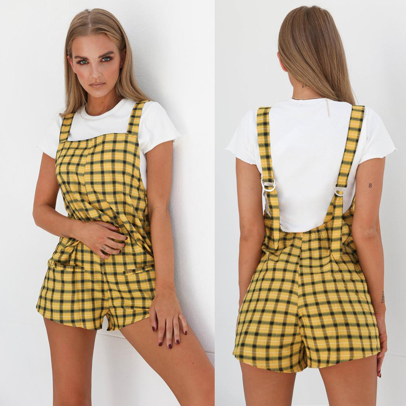 XXL Plus Size Summer Red Yellow Plaid Overalls Rompers Women Jumpsuit Sleeveless Adjustable Straps Playsuits