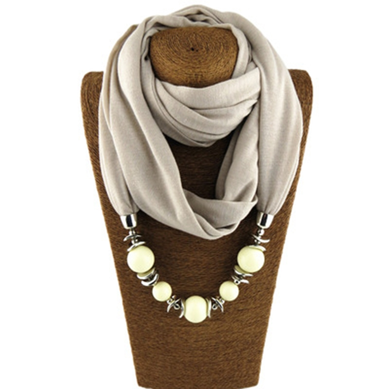 Women Shawl Scarves Fashion Ethnic Collar Tassel Gorgeous Beads Pendants jewelry Necklace Ring Scarf Polyester Solid
