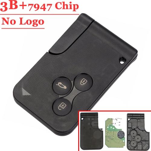 (1PCS )WHITE BUTTON 3 Button Remote Card with pcf7947 Chip For SENIC Megane CLIO & SCENIC REMOTE KEY CARD