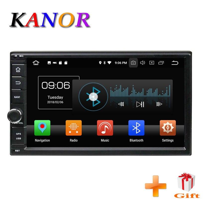 KANOR Android 8,0 Octa Core 7 дюймов г 4 + 32 г двойной 2 Дин радио с DSP Bluetooth стерео SatNav Wi Fi Мультимедиа SWC географические карты головного устройства