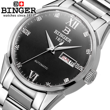Luxury Brand Watches For Men Binger Dress Watch Casual Crystal Automatic Wrist Steel Wristwatch Relogio Feminino Reloj hollow brand luxury binger wristwatch gold stainless steel casual personality trend automatic watch men orologi hot sale watches