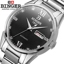 Luxury Brand Watches For Men Binger Dress Watch Casual Crystal Automatic Wrist Steel Wristwatch Relogio Feminino