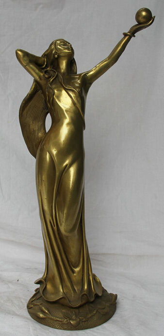 """16"""" Chinese Brass Stand Western Nude Sexy Girl Belle Gal lady Play Bead Statue R0710"""