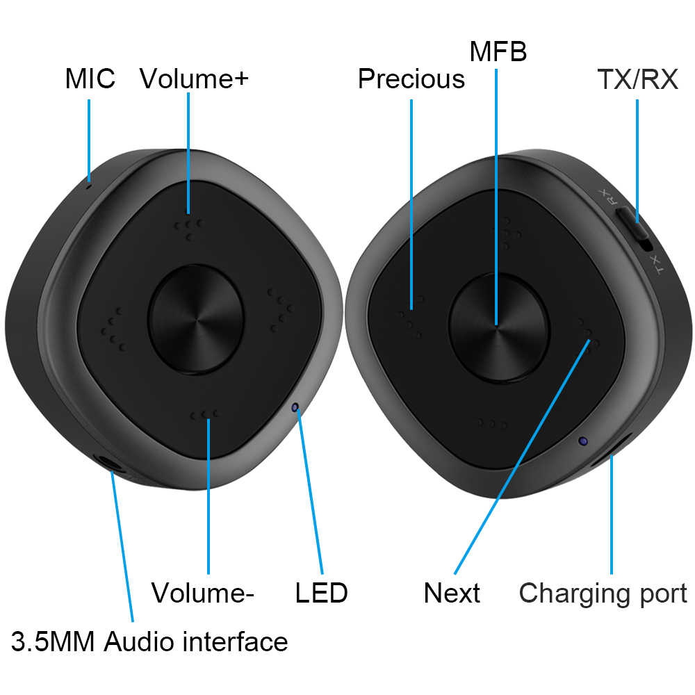 Receptor transmisor APTX HD Bluetooth 5,0 CSR8675 adaptador de Audio inalámbrico 3,5mm sin pérdida de retardo bajo para auriculares PC TV D2-001