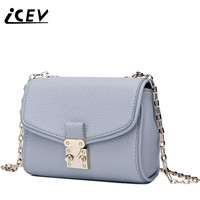 ICEV New Fashion Flap Simple Cowhide Women Messenger Bags Genuine Leather Bags Handbags Women Famous Brands