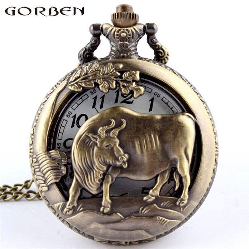 2017 Chinese Zodiac Cow Hollow Quartz Pocket Watch Necklace Pendant Fine Design Pocket W ...