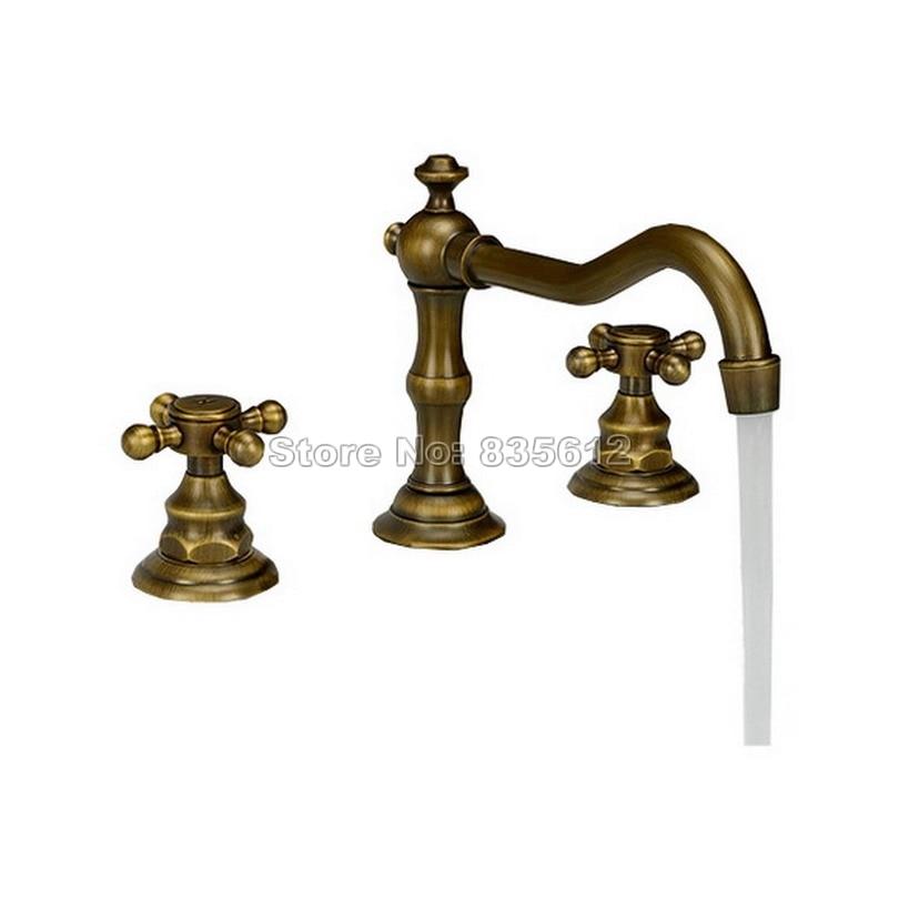 3 Hole Deck Mounted Dual Cross Handles Widespread Bathroom Basin Antique Brass Mixer Tap Vessel Sink Faucet Wan030 contemporary 3 holes basin vessel sink faucet dual handles widespread mixer tap chrome brass