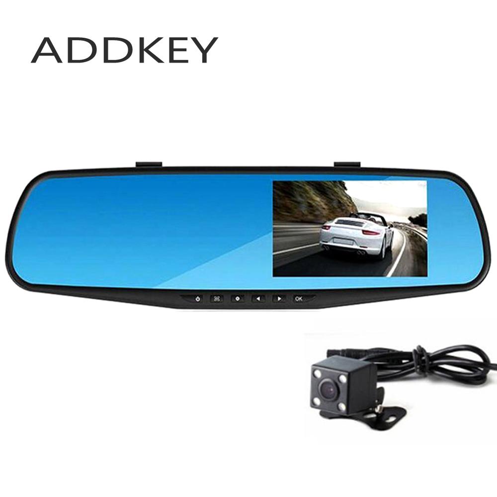 Prix pour ADDKEY Full HD 1080 P Voiture Dvr Caméra Auto 4.3 Pouce Rétroviseur Numérique Vidéo Enregistreur Double Lentille Registratory Caméscope