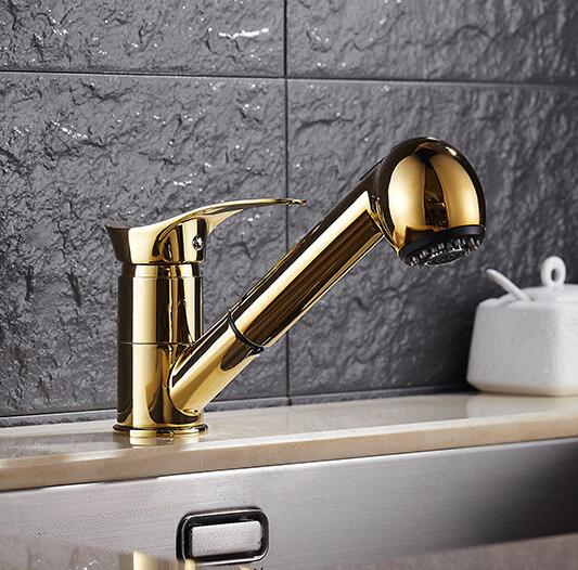 Free Shipping Gold Kitchen faucet brass faucet hot and cold sink tap Water Tap with pull out shower head Kitchen Mixer Free Shipping Gold Kitchen faucet brass faucet hot and cold sink tap Water Tap with pull out shower head Kitchen Mixer