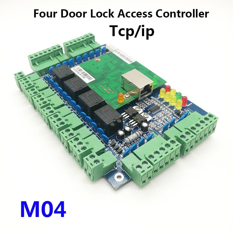 Tcp/ip réseau quatre portes contrôleur d'accès quatre portes unidirectionnel panneau de contrôle d'accès de serrure de porte pour la sécurité à la maison M04