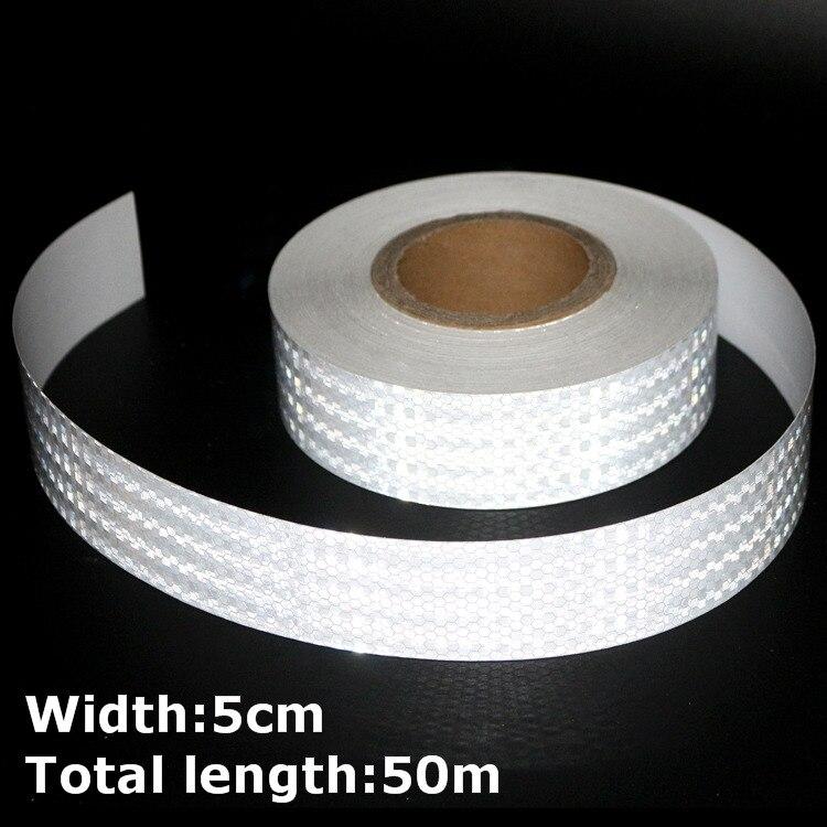 50 m * 5 cm haute intensité bandes réfléchissantes autocollants pour voiture style camion moto décoration blanc sécurité avertissement ruban adhésif