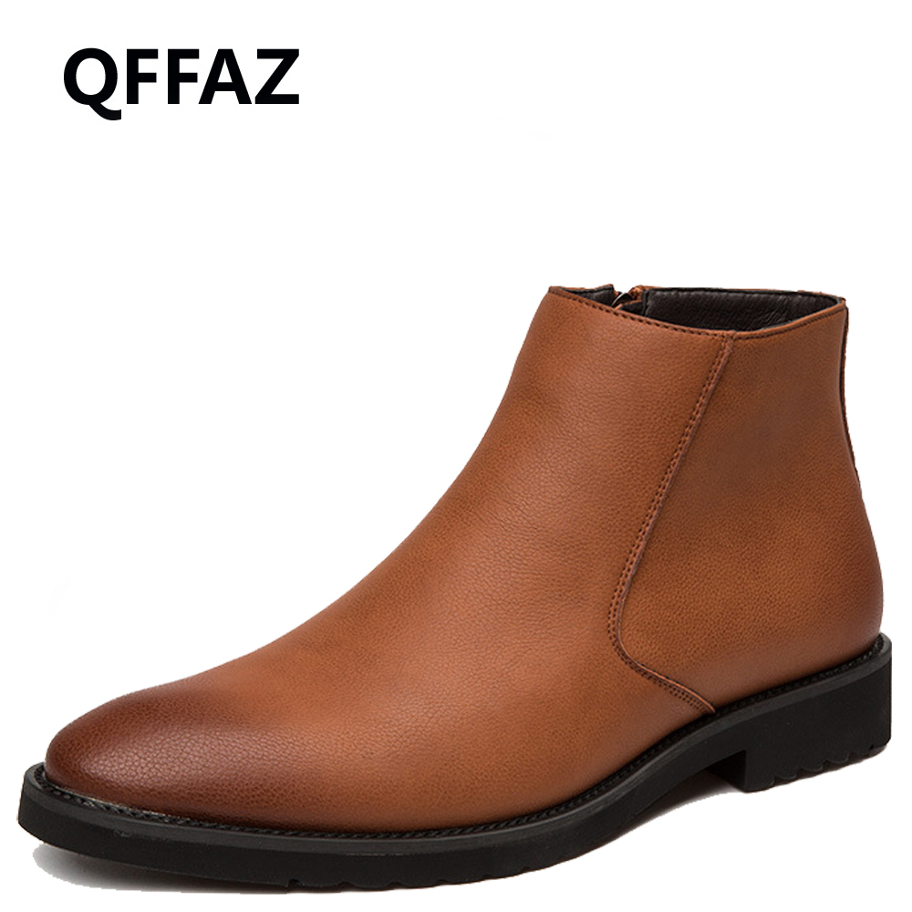 Qffaz Men Boots Spring Autumn Leather Waterproof Zipper