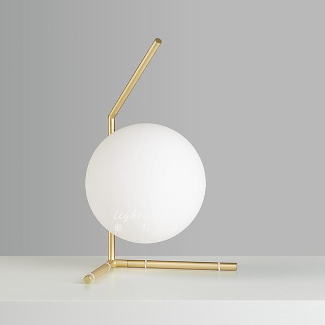 Postmodern Style Lampen Table Lamp White Glass Ball Stainless Steel Desk Light Golden Modern Nordic Lighting Desinger's store