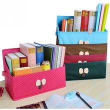 New Multifuction Stationery Desk Organizer Bowknot desktop storage box bookcase Desktop Office Pen Pencil Holder Study Storage