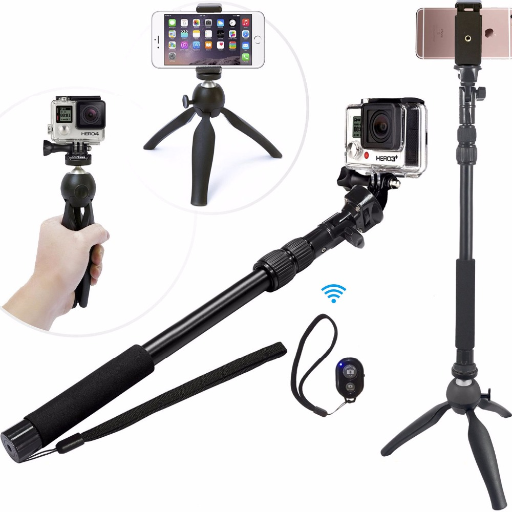 3 in 1 Aluminum Alloy Bluetooth Selfie Stick With Mini Tripod for Gopro Cameras Extendable Monopod