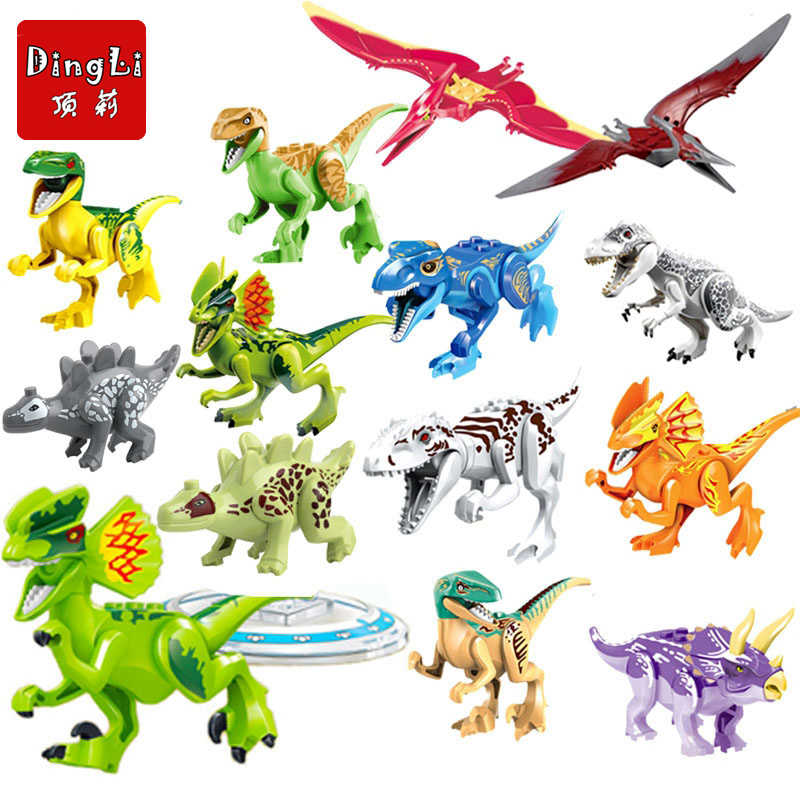 Single Sale Jurassic World 2 Figures Dinosaur Dinosaurs Building Kits Bricks Baby Toys Technic