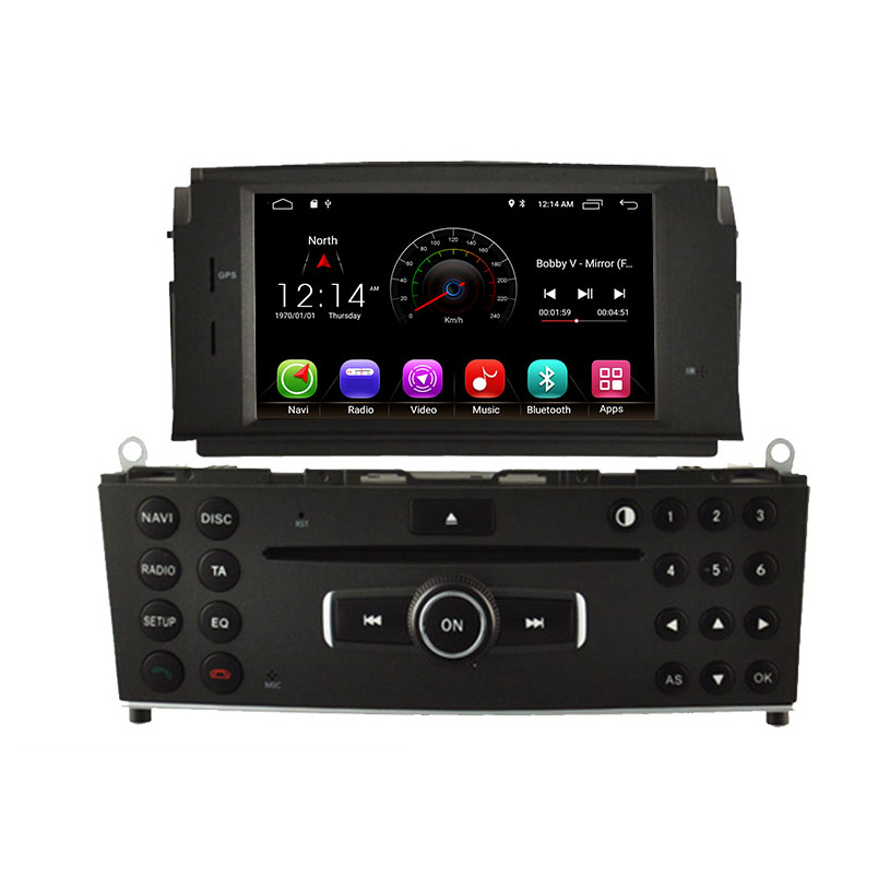 1 Din Android 9.0 lecteur DVD de voiture pour Mercedes Benz C200 C180 W204 2007-2010 WIFI lecteur multimédia de voiture GPS Navi autoradio