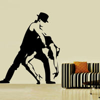 Comercio al por mayor de Tango Danza Decoración Del Hogar Etiqueta de La Pared Negro Silueta de la Sala Extraíble Hollow Out Tatuajes de Pared