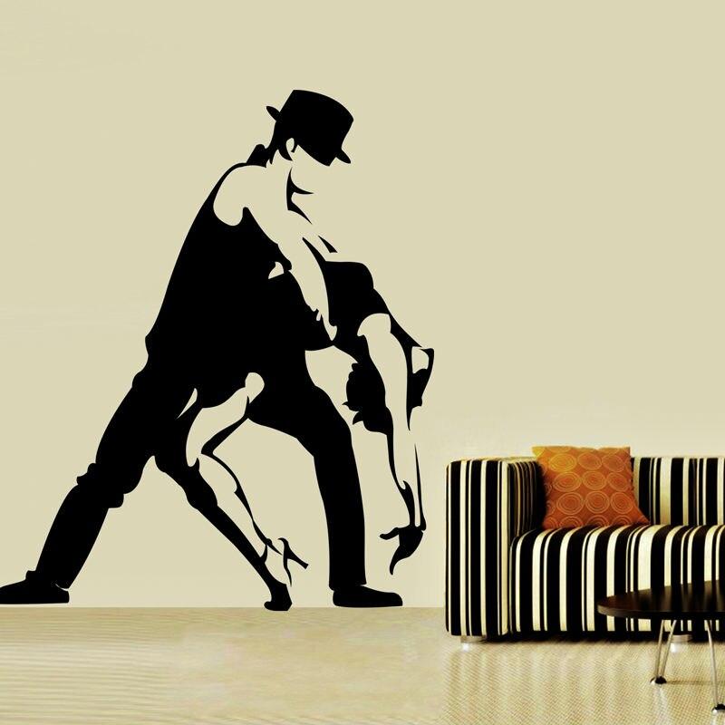 도매 탱고 벽 스티커 검은 실루엣 거실 이동식 댄스 홈 장식 중공 벽 데칼