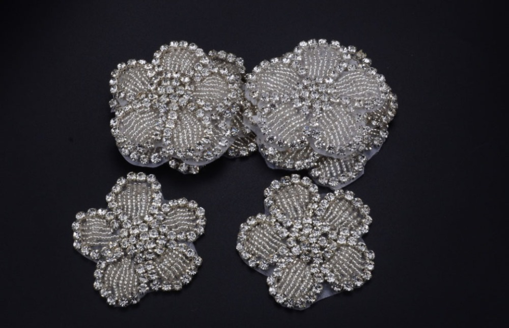 Free ship hand beaded sewing on silver crystal rhinestone applique patch  for dresses headband DIY iron on 10pcs lot 5.8cm-in Rhinestones from Home    Garden ... 2a57003b05f5