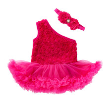 Fashion Baby Set For Girl New Clothes One shoulder Tutu Dress Headwear Floral Sleeve Suit Bebek Giyim