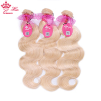 Queen Hair Products Brazilian #613 Blonde Body Wave 100% Human Hair Weave 12'' 24''Inche Bundles Machine Double Weft Remy Hair