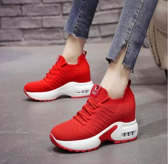 YeddaMavis Platform Sneakers Women Shoes Woman 2019 Summer New Lace Up Casual Shoes 9CM High Heels Womens Shoes Zapatos De Mujer in Women 39 s Vulcanize Shoes from Shoes