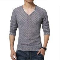 Free Shipping New Arrival Spring Fall Mens T Shirt Long Sleeve Fashion V Neck Men Casual