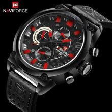 Часы наручные NAVIFORCE Мужские кварцевые, роскошные брендовые водонепроницаемые аналоговые спортивные с кожаным ремешком, с датой и 24 часовым циферблатом